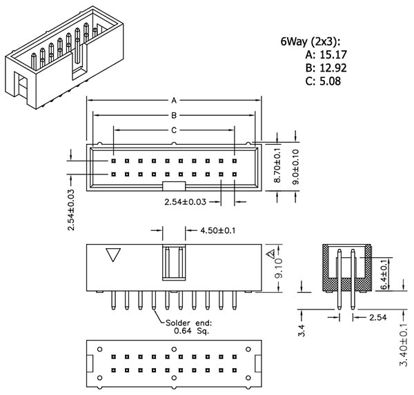 Dimension Drawing for Header - 6-Pin, 2x3, Male, PTH, Shrouded, 2.54mm (0.1