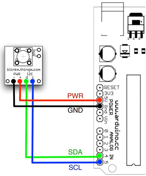 Connecting BlinkM with Arduino