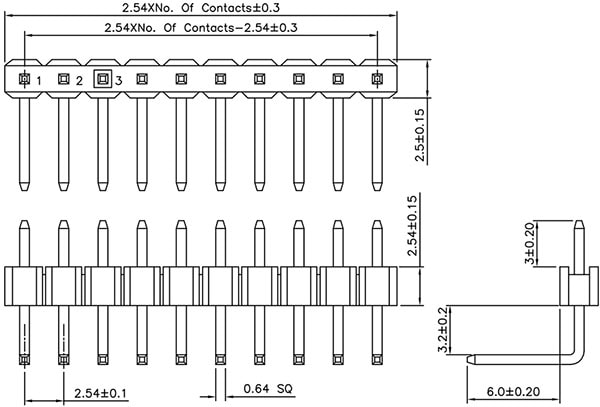 Right Angle Header Dimensions