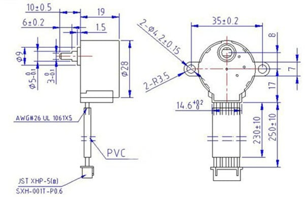 Stepper Motor, Small Reduction, 512 Steps, 150g.cm Dimensions