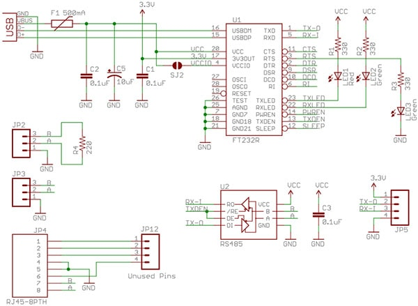 USB to RS-485 Converter BoardSchematic