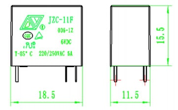 Relay SPDT Sealed 12V, 5A (@250VAC, 30VDC) Dimensions