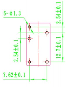 Relay SPDT Sealed 12V, 5A (@250VAC, 30VDC) PCB Land Pattern