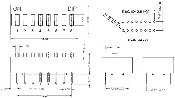 DIP Switch - 8 Position Dimensions