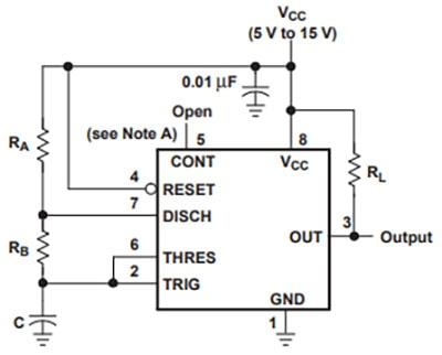 555 Timer in Astable configuration