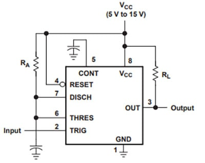 555 Timer connected in monostable operation