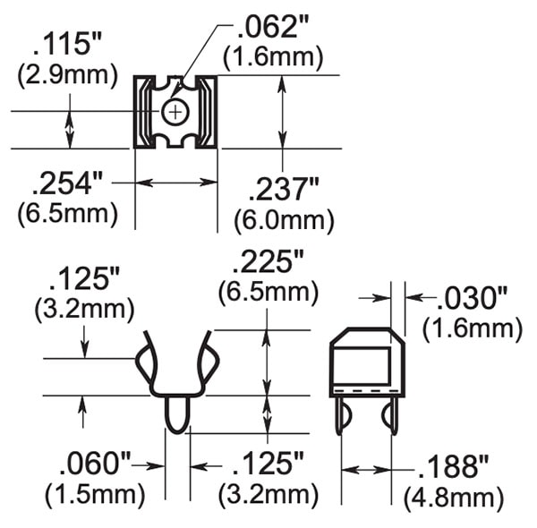 Fuse Holder / Clip 5mm dimensions