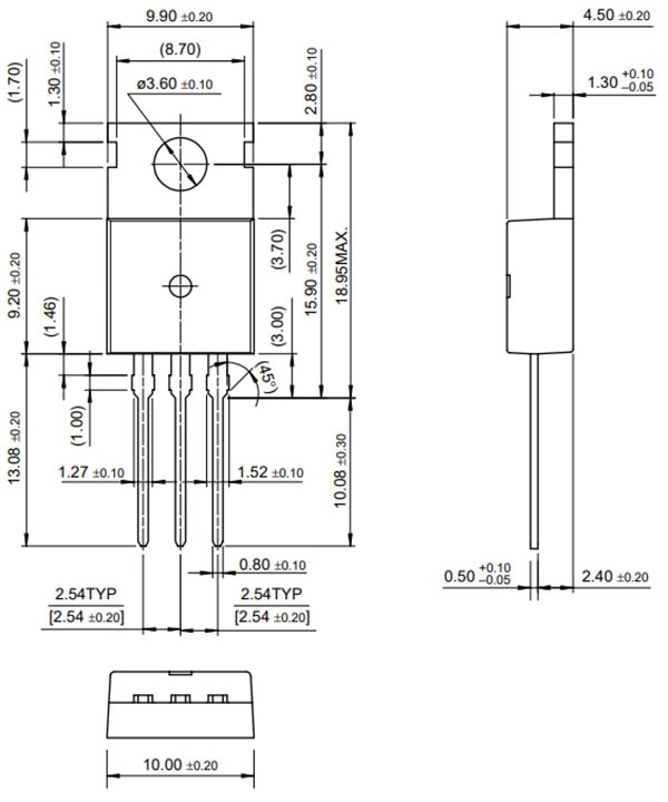 MOSFET - N-Channel, 60V, 30A, TO-220 dimensions