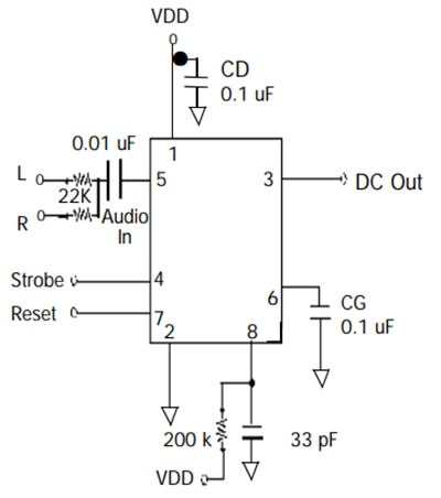 Graphic Equalizer Display Filter - MSGEQ7 - Circuit