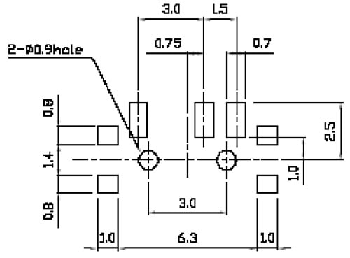 Switch, PCB Mount, Surface Mount, Right Angle Recommended PCB Land Pattern