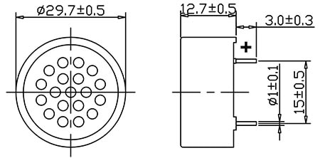 Speaker, 30mm Dia, 8 ohm, PCB Mounted Dimensions
