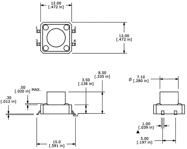 Tactile Button - SMD (12mm) Dimensions