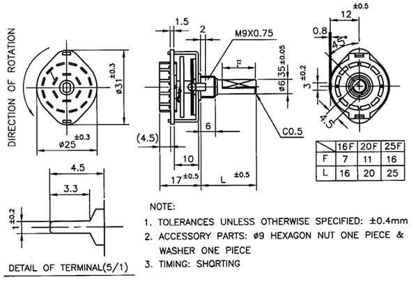 Rotary Switch - 10 Position - Single Pole - Dimensions