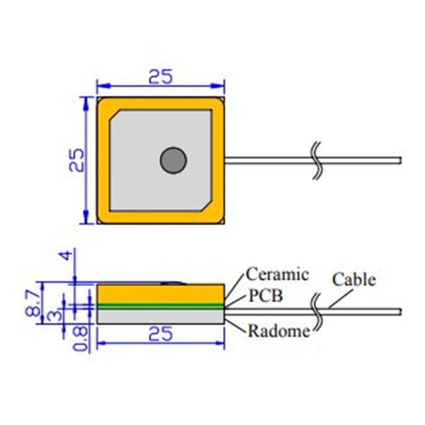 GPS Antenna Embedded SMA Dimensions