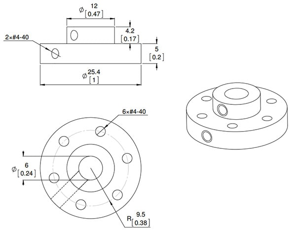 Universal Aluminium Mounting Hub for 6mm Shaft, 4-40 Hole Dimension drawing