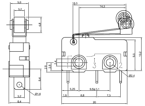 Snap-Action Switch Engineering Drawing