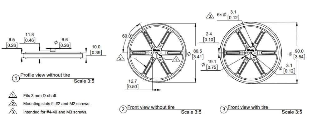 90x10mm Wheel Pololu Dimensions