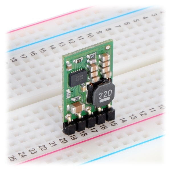 PPPOL2834 12V 1A Step-Down Voltage Regulator fitted to a breadboard vertically