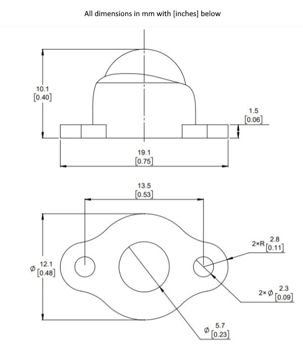 Dimensions Drawing of the ball caster with ball