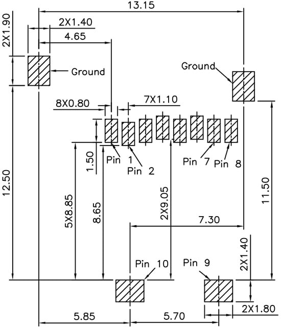 PRT-00127 Recommended PCB Land Pattern