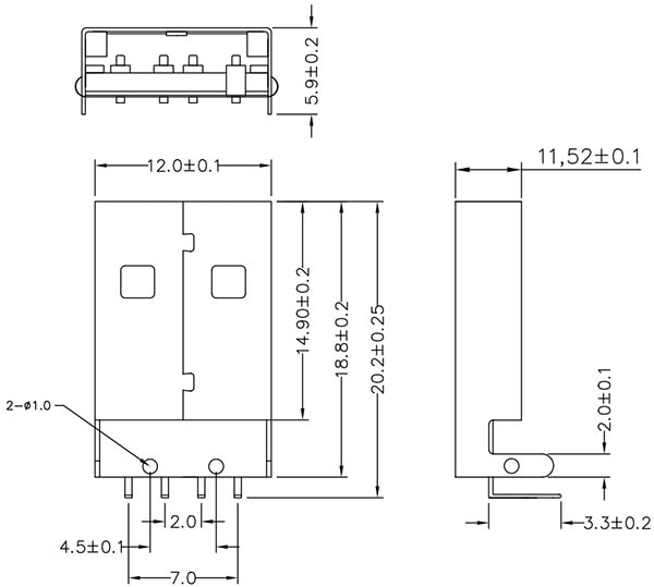 USB Male Type A Connector Dimensions