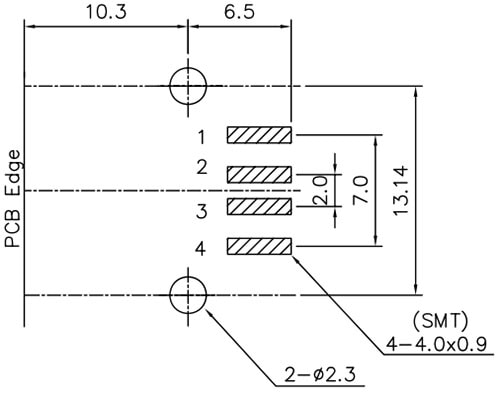 USB Connector Recommended PCB Land Pattern