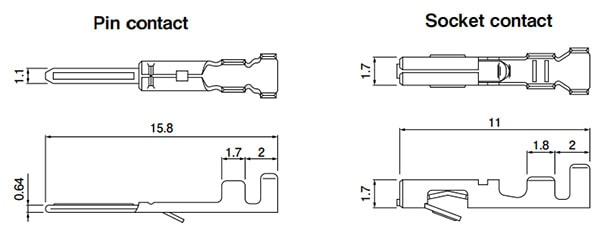 JST RCY CONNECTOR dimensions