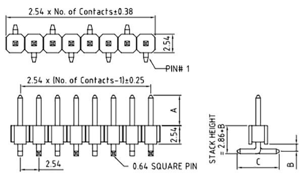 Header - 8-pin Male, SMD, 2.54mm (0.1