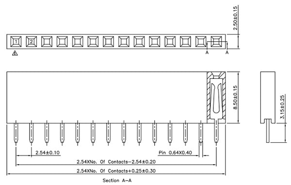 Header - 8-pin Female, PTH, 2.54mm (0.1