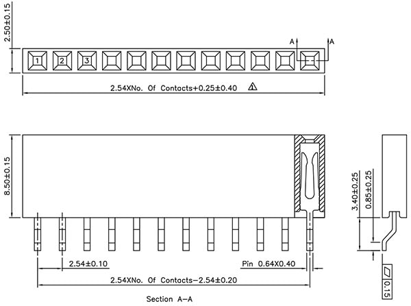 6-pin Female SMD Header Dimensions