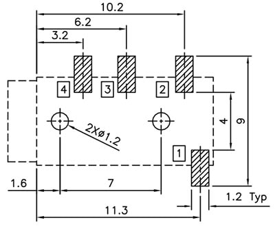 TRRS Headphone socket Recommended PCB land pattern