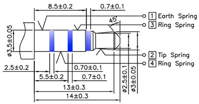 TRRS Headphopne socket mating connector dimensions