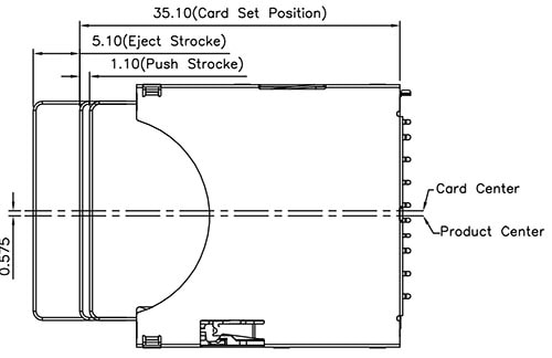 SD MMC Card Socket Dimensions with Card Installed