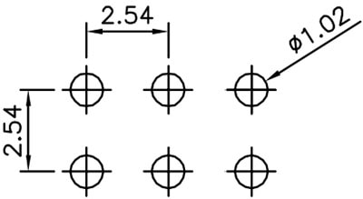 2x3 Header Recommended PCB Land Pattern:
