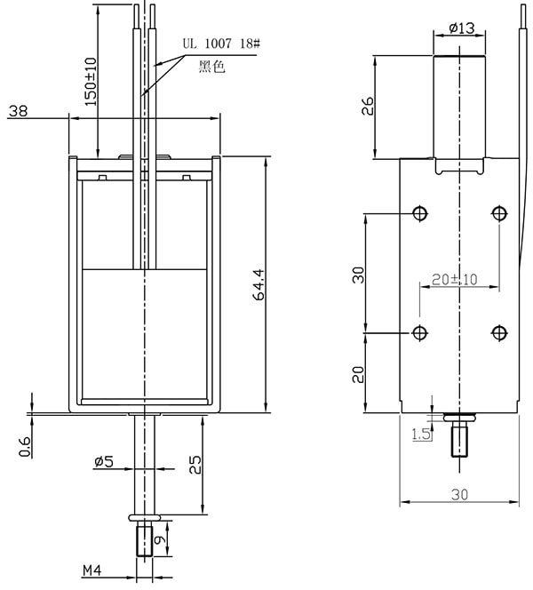 Solenoid, 10mm Throw, 12 ~ 36V Dimensions