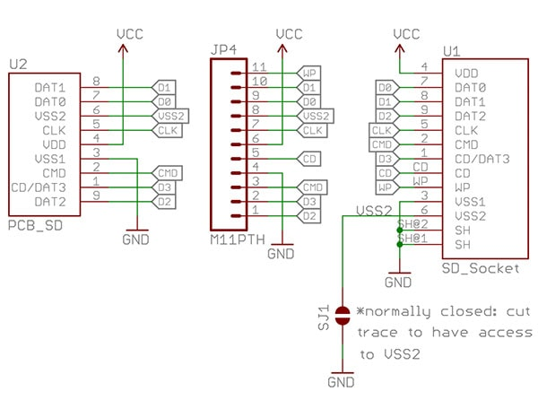 SD Card SPI Sniffer Schematic Diagram