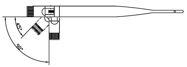 2.4Ghz Duck Antenna Angle drawing