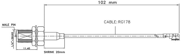 Interface Cable, U.FL to RP-SMA, Panel Mount Dimensions