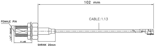 Interface Cable, U.FL to SMA, Coaxial, Panel Mount Dimensions