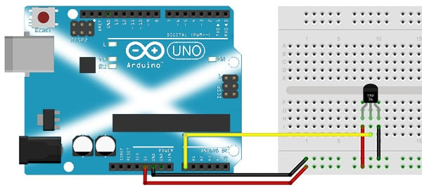 Connecting a TMP36 Temperature Sensor with an Arduino