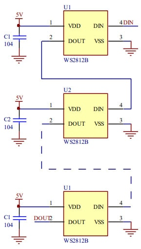 WS2812B Typical Application Circuit