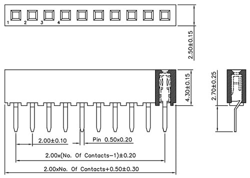 Xbee Socket, 10-Pin, 2mm Pitch Dimensions