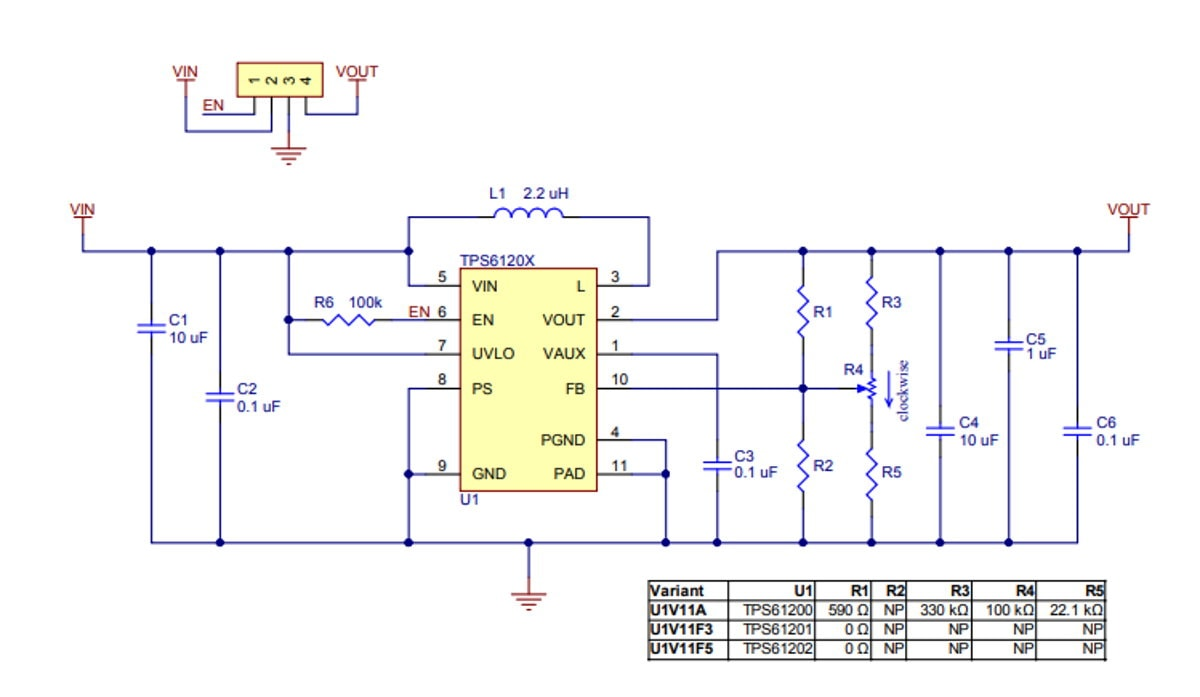 3.3V Step-Up Voltage Regulator U1V11F3 Schematic Diagram