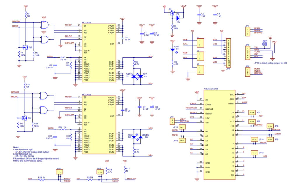 MC33926 Motor Driver Shield Schematic Diagram