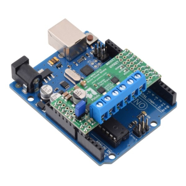Dual MAX 14870 Motor Driver Shield for Arduino on an Arduino Uno