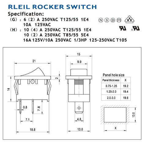 Switch, Rocker, Right-Angle, Panel-Mount Dimensions
