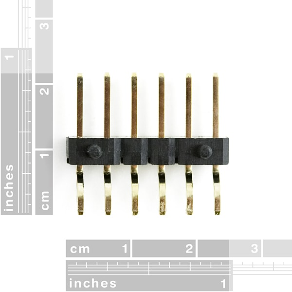 Header – 6-pin Male, SMD, 2.54mm (0.1″) Right-Angle dimension