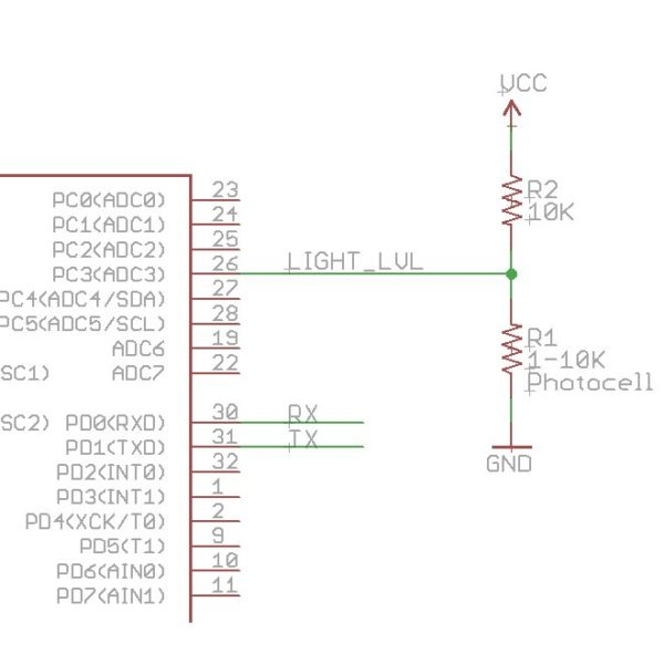 Proto-PIC Mini Photocell - LDR (Light Dependent Resistor) Schematic