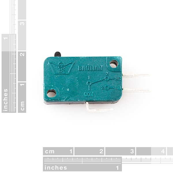 Microswitch - 3-terminal dimensions