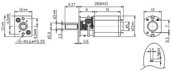 100:1 Micro Metal Gearmotor HP with Extended Motor Shaft
